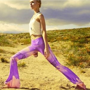 Teeki Purple Haze Bell Bottom Yoga Pants Leggings